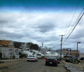 Marina boats on Shrewsbury Ave by Wind and Sea