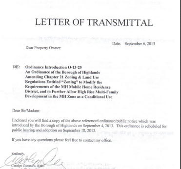 Highlands Council Letter